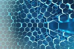 Illustration 3D Zusammenfassungsblau des futuristischen Oberflächenhexagonmusters mit hellen Strahlen Sechseckiger Hintergrund de Stockfotografie
