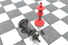 Illustration 3d: Zwei Schachzahlen auf dem Spielfeld Roter König ist ein Sieger und Lügen eines Verliererschwarzen werfen sich an Stockbilder