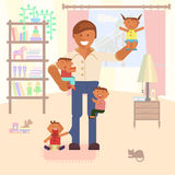 Illustration with dad and children. Vector Illustration with dad or babysitter and children. Baby son and daughter Stock Images