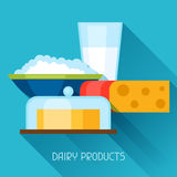 Illustration with dairy products in flat design. Style Royalty Free Stock Photo