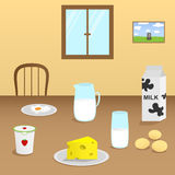 Illustration of dairy products on a wooden table in the dining room Stock Photo