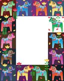 Dala horse colorful frame. This illustration is Dala horse with frame stylish and decoration tulip flowers on white color background in template Royalty Free Stock Photography