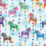 Dala horse colorful love vertical line seamless pattern Royalty Free Stock Image