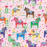 Dala horse gradient natural style seamless pattern Royalty Free Stock Images