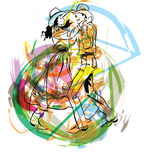 Illustration of dancers Royalty Free Stock Images