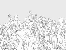 Illustration of dancing festival crowd. Stylized drawing of people having fun from high angle view Royalty Free Stock Photos