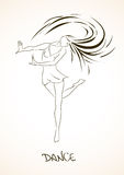 Illustration with dancing girl Stock Images