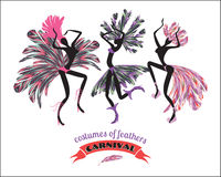 Illustration of dancing women in carnival costumes of feathers. Royalty Free Stock Image