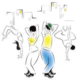Illustration of dancing young people Stock Photo
