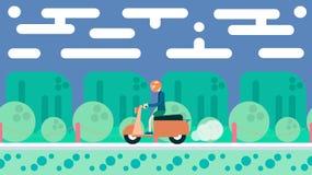 Illustration dans la conception plate Voyage sur le scooter Image libre de droits