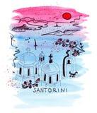 Illustration dans le croquis de la Grèce la station balnéaire célèbre Photos stock