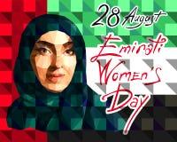 Illustration dans le style d'un bas polygone consacr? au jour des femmes s d'Emirati image libre de droits