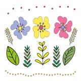 Illustration dans le style de gribouiller Retrait de main Rose abstrait, fleurs jaunes et bleues Conception mignonne pour la d?co photos stock