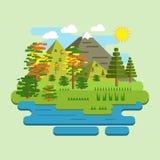 Illustration dans le style de la conception plate Autumn Landscape illustration de vecteur