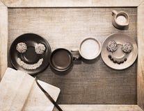 Illustration dans le style grunge, petit déjeuner Photo libre de droits