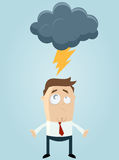 Lightning bolt over cartoon man Stock Photos