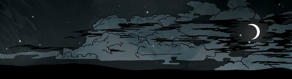 Dark night clouds and moon in the sky illustration. Illustration of a dark night with clouds, moon and stars in the sky above the earth vector illustration