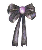 Illustration with a dark purple bow painted in colored pencils Royalty Free Stock Photos