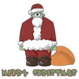 Illustration: Das man musterte Santa Comes, um Ihnen frohe Weihnachten zu wünschen! Trauen Sie sich, sein Geschenk zu empfangen? Stockfotografie