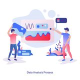 Illustration Data Analysis Process. Vector illustration of the Data Analysis Process, people analyze data and a man puts a picture on the analysis board. Modern vector illustration