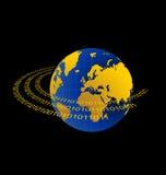 Illustration of data stream around terra planet Stock Image