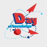 Illustration of a `Day of knowledge` with the image of apple, flying of the paper plane and dashed lines. Vector Stock Image