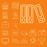 Illustration de étude éloignée de vecteur de la connaissance d'ensemble d'icônes d'éducation du personnel de librairie en ligne p Photos stock