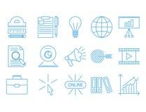 Illustration de étude éloignée de vecteur de la connaissance d'ensemble d'icônes d'éducation du personnel de librairie en ligne p Image libre de droits