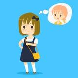 Illustration de attente de vecteur de petite fille illustration libre de droits