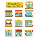 Illustration de bâtiments de petite entreprise, ligne mince icônes, signes plats linéaires illustration stock