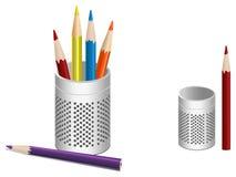 Illustration de bac de crayon lecteur et de crayons colorés Images stock