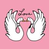 Illustration de baiser de bande dessinée d'amant de cygnes de couples Image stock