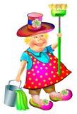Illustration de balayeuse joyeuse avec le balai et le seau Image libre de droits