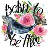 Illustration de baleine d'aquarelle Fond de roses de vintage Porté pour être libre Images stock