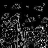 Illustration de bande dessinée avec les animaux mignons illustration libre de droits