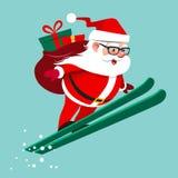 Illustration de bande dessinée d'Ector de sauter de ski de Santa Claus avec le backp Photo libre de droits