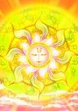Illustration de bande dessinée d'un dieu soleil dans le ciel avec la lumière du soleil shinning Photos stock