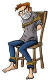 Homme fâché attaché à une chaise avec des cordes illustration libre de droits