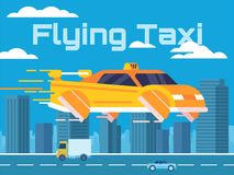 Illustration de bande dessinée d'un taxi de vol dans une grande ville illustration libre de droits