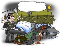 Illustration de bande dessinée d'un voleur de voiture qui a été attrapé dans un airbag gonflé Photos stock