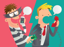 Illustration de bande dessinée d'une duperie de téléphone Photographie stock