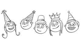 Illustration de bande dessinée de cinq enfants d'enfants avec des chapeaux de partie photographie stock libre de droits
