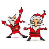Illustration de bande dessinée de danser Santa Claus dans diverses poses Photos stock