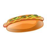 Illustration de bande dessinée de hot-dog Aliments de préparation rapide américains classiques Image libre de droits
