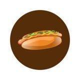 Illustration de bande dessinée de hot-dog Aliments de préparation rapide américains classiques Photographie stock