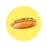 Illustration de bande dessinée de hot-dog Aliments de préparation rapide américains classiques Images stock