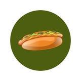 Illustration de bande dessinée de hot-dog Aliments de préparation rapide américains classiques Image stock