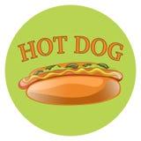 Illustration de bande dessinée de hot-dog Aliments de préparation rapide américains classiques Photo libre de droits