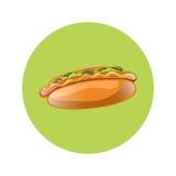 Illustration de bande dessinée de hot-dog Aliments de préparation rapide américains classiques - saucisse avec de la moutarde Photographie stock libre de droits