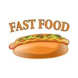 Illustration de bande dessinée de hot-dog Aliments de préparation rapide américains classiques - saucisse avec de la moutarde Photo libre de droits